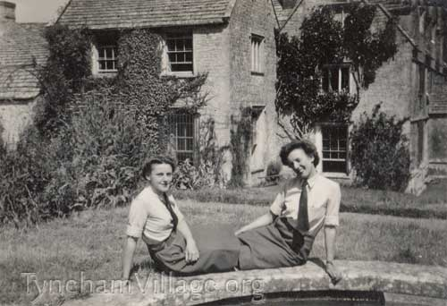 2 Members of the WAAF Sitting Outside Tyneham House